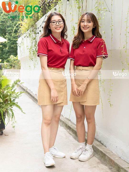 Áo phông đồng phục màu đỏ chuyên nghiệp