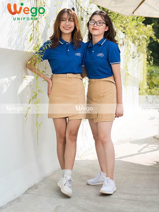 Áo phông màu xanh đồng phục cho doanh nghiệp