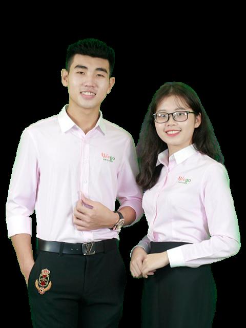 Áo đồng phục sơ mi công sở Wego vải kate mỹ kẻ hồng DP0004
