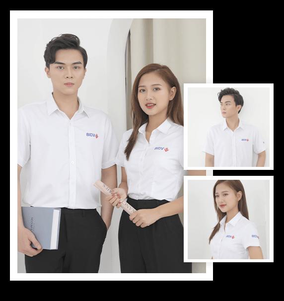 Đồng phục áo sơ mi ngân hàng BIDV cao cấp