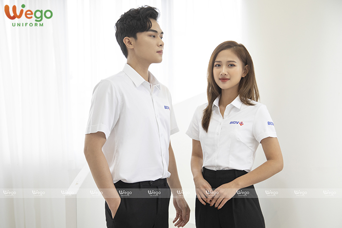 May đồng phục áo sơ mi ngân hàng BIDV