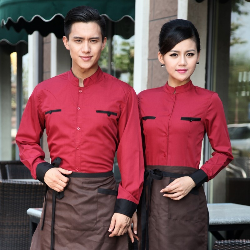 áo đồng phục sơ mi cách tân màu đỏ