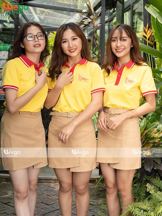 Mẫu áo thun đồng phục phối 2 màu vàng và đỏ