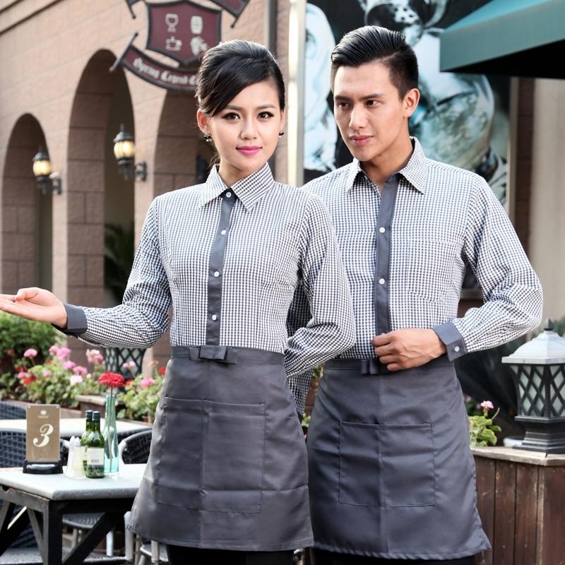 mẫu áo đồng phục nhà hàng đẹp với họa tiết kẻ caro hiện đại