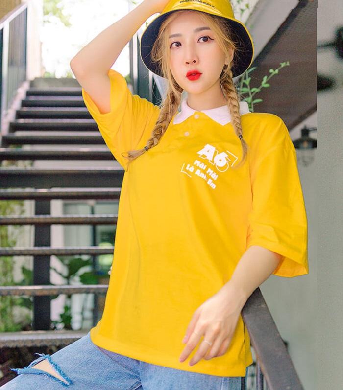 Áo thun đồng phục đẹp màu vàng