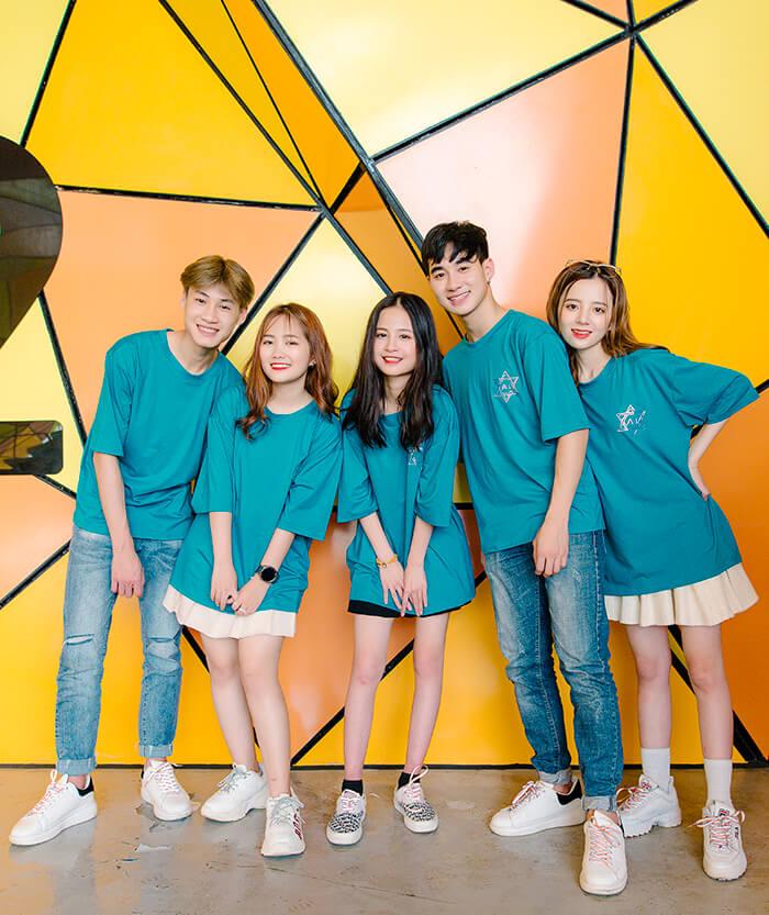 Áo đồng phục nhóm màu xanh ngọc