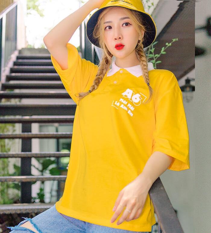 Áo phông đồng phục màu vàng