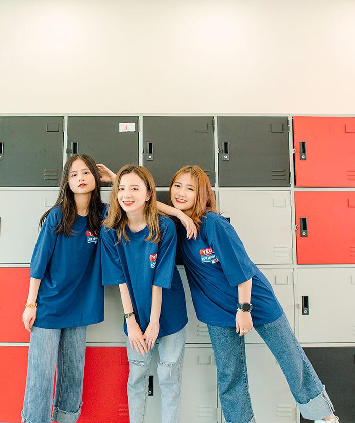 Áo thun đồng phục lớp màu xanh