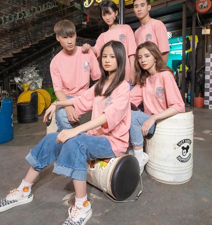 Đồng phục áo thun màu hồng