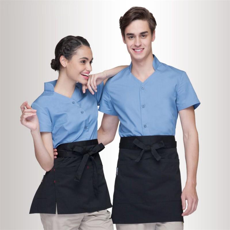 Áo đồng phục nhà hàng khách sạn màu xanh da trời