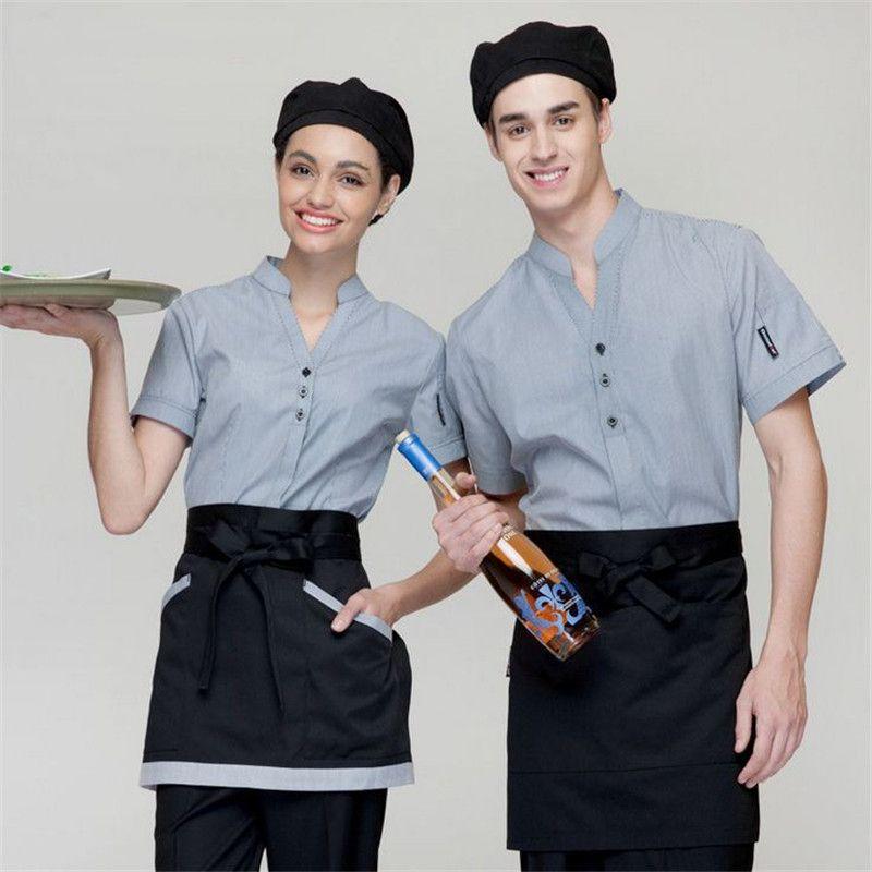 Áo đồng phục nhà hàng màu xám xanh cổ tàu xẻ rộng