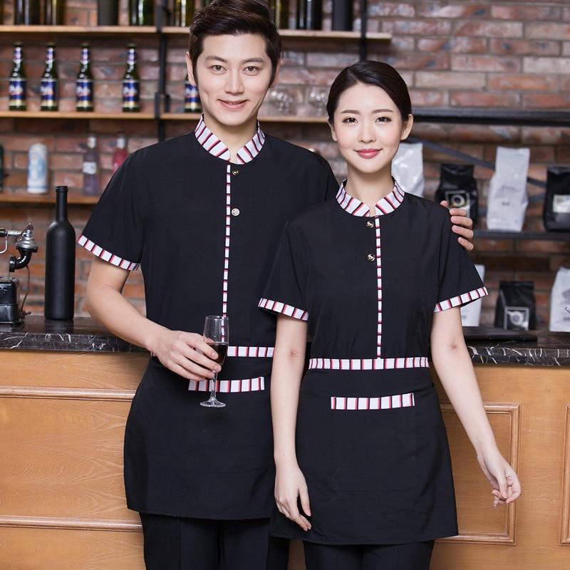 Áo đồng phục nhà hàng khách sạn màu đen phối sọc