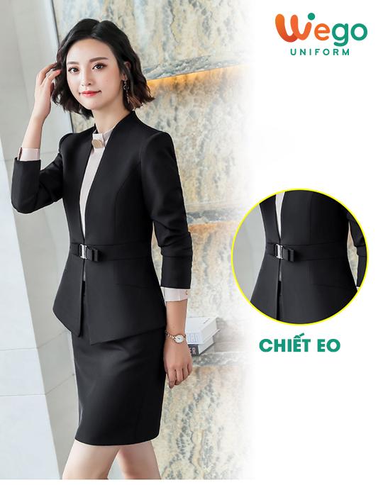 Mẫu đồng phục vest nữ đẹp DPV003 chiết eo