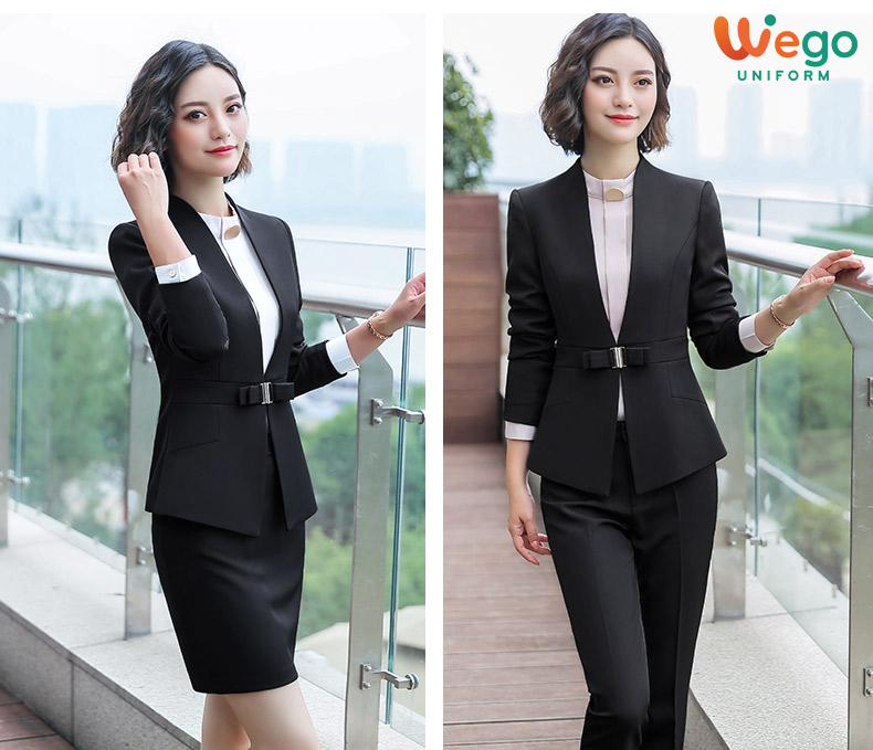 Mẫu đồng phục vest nữ đẹp DPV003 màu đen