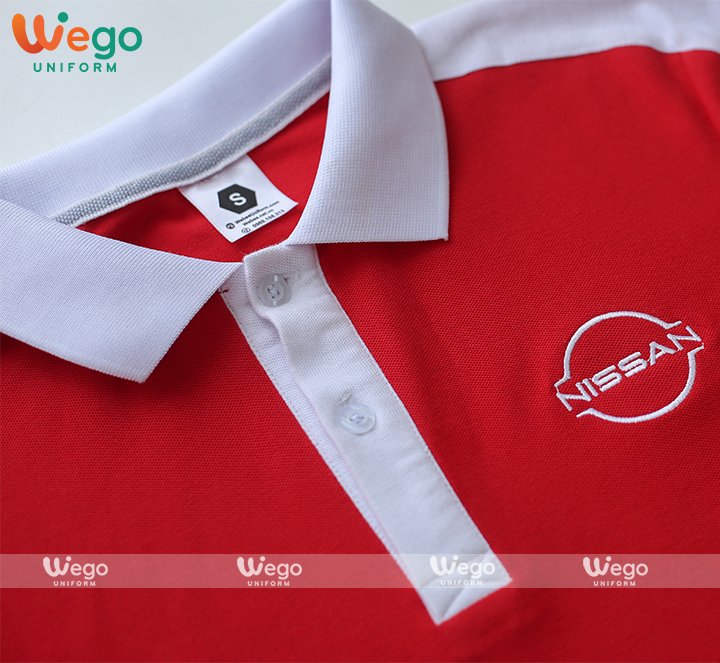 Cận cảnh dáng áo và chất liệu áo phông đồng phục chất liệu vải cotton bee cvc